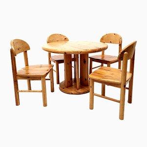 Dänischer Vintage Esstisch & Stühle aus Kiefernholz von Rainer Daumiller, 1970er, 5er Set
