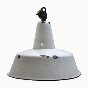 Lampe à Suspension Mid-Century Industrielle en Émail Gris Clair