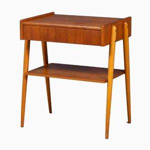 Table de Chevet Mid-Century en Hêtre et en Teck de AB Carlström & Co Möbelfabrik, Suède, 1960s