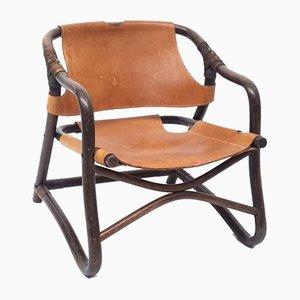 Mid-Century Brown Leather & Bamboo Safari Lounge Chair, 1960s