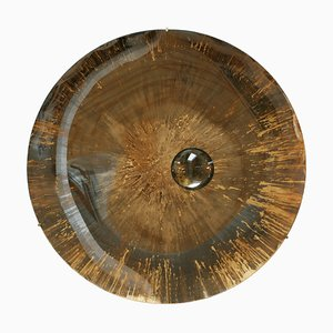 French Sculptural Brown Glass Concave Mirror