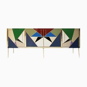Credenza Mid-Century in stile moderno in legno, ottone e vetro colorato, Italia
