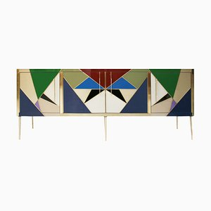 Mid-Century Italian Modern Style Wood, Brass & Colored Glass Sideboard