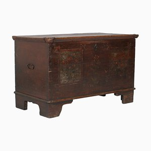 Antique Hand-Painted Tyrolean Solid Larch Chest, 1600s