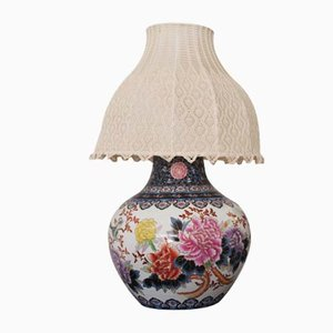 Chinese Vase Table Lamp with Hand-Embroidered Lace Shade, 1950s