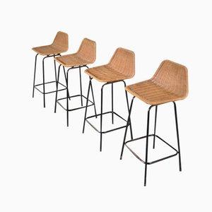 Vintage Barhocker mit Korbgeflecht Sitzen von Dirk van Sliedrecht für Rohe Noordwolde, 4er Set