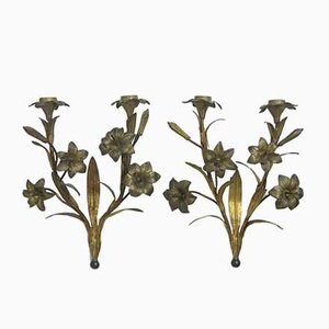 Antique French Wall Candelabra with Lily Flowers, Set of 2