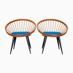 Mid-Century Circle Chairs by Yngve Ekström for Ese Mobler AB, 1958, Set of 2