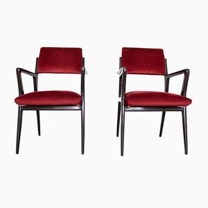 Mid-Century Red Velvet Lounge Chairs, Set of 2