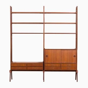 Scandinavian Freestanding Teak Wall Unit, 1960s