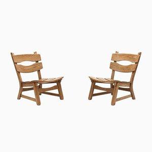 Brutalistische Eichenholz Stühle von Awa Meubelfabriek, 1960er, 2er Set