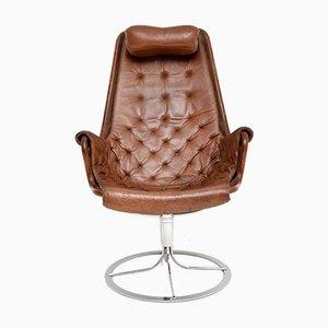 Sedia girevole vintage in pelle e metallo cromato di Bruno Mathsson per Dux, anni '60