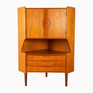 Mid-Century Danish Modern Teak Corner Cabinet with Bar Unit, 1960s