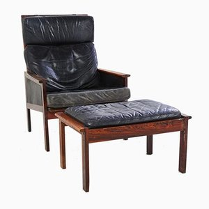 Danish Rosewood Capella Lounge Chair with Ottoman by Illum Wikkelsø for Niels Eilersen, 1950s, Set of 2