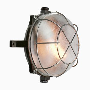 Mid-Century Industrial Bakelite and Frosted Glass Sconce