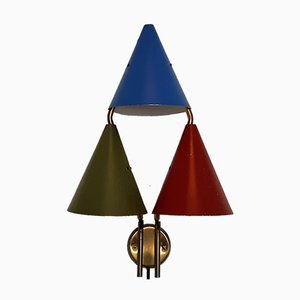 Danish Triple-Shaded Sconce by Svend Aage Holm Sørensen for Lyfa, 1950s