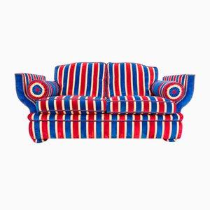 Vintage Art Deco Style Velvet & Cotton 2-Seat Sofa, 1930s