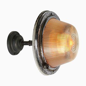 Mid-Century Industrial Ribbed Glass & Cast Iron Sconce