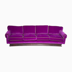 Mid-Century Italian Purple & Green Velvet Sofa from Cassina, 1950s