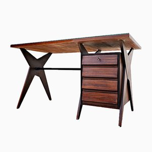 Italian Teak & Brass Desk by Edmondo Palutari for Dassi Lissone, 1960s