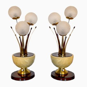 Italian Art Deco Style Alabaster & Murano Crystal Table Lamps, 1960s, Set of 2