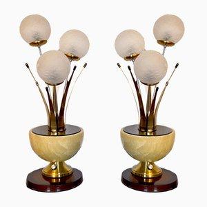Lampes de Bureau Style Art Déco en Albâtre et Cristal Murano, Italie, 1960s, Set de 2