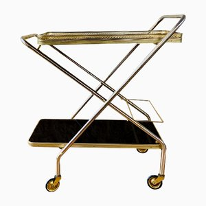 Mid-Century Brass Bar Cart with Formica Trays on Multi-Directional Wheels, 1960s