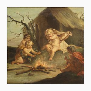 Antique Painting, Allegory of Winter, 18th Century