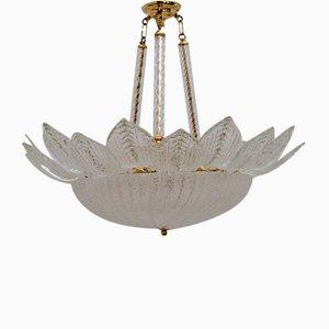 Lámpara de techo Barovier italiano y estilo Toso de cristal de Murano, años 70