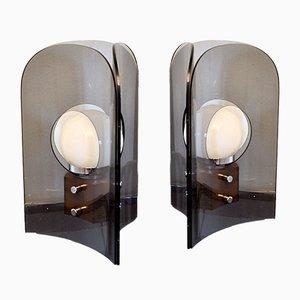 Danish Methacrylate & Wood Table Lamps, 1950s, Set of 2