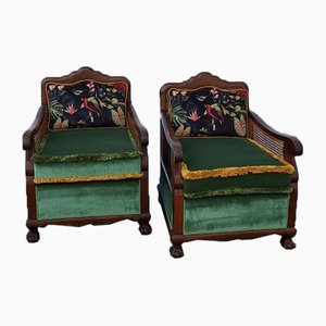 Antique English Vienne Straw Lounge Chairs, Late 1800s, Set of 2