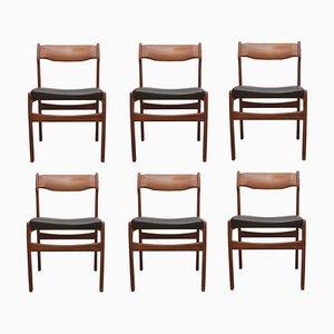 Teak & Leder Esszimmerstühle von Erik Buch, 1960er, 6er Set