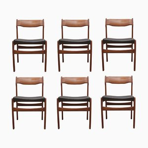 Teak & Leather Dining Chairs by Erik Buch, 1960s, Set of 6