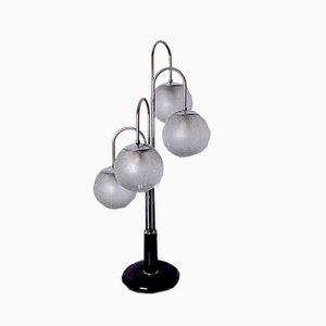 Lampe de Bureau Style Spiral Chromée Art Déco avec 4 Globes, 1970s