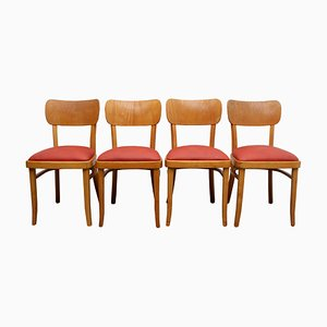 Beech & Leatherette Dining Chairs, 1950s, Set of 4