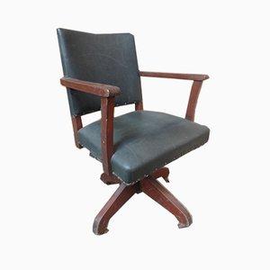 English Art & Craft Captain Swivel Desk Chair, 1920s