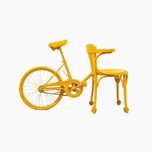 Gelber Vintage Silla Fahrrad Beistellstuhl, 1980er