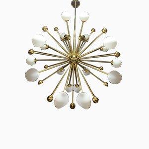 Vergoldeter 18-Leuchten Sputnik Kronleuchter, 1970er