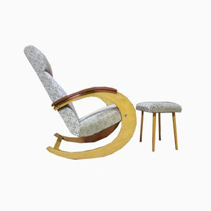 Rocking Chair with Ottoman, 1950s, Set of 2