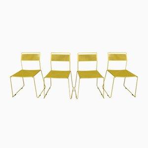 Sedie in metallo laccato e traforato giallo, anni '70, set di 4