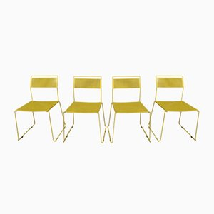 Yellow Lacquered & Perforated Metal Chairs, 1970s, Set of 4