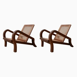 Vintage Reconstruction Style Mahogany & Cane Armchairs, Set of 2