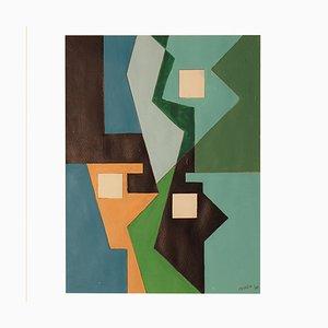 Constructivist Oil on Canvas Painting by Estella Den Boer