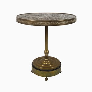 Mid-Century Moroccan Occasional Table with Hammered & Engraved Copper Top