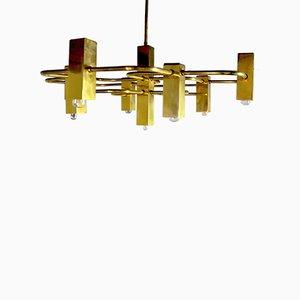 Lámpara de araña italiana geométrica de 9 luces de Gaetano Sciolari para Sciolari, años 70