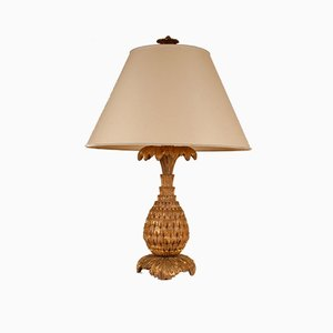 French Carved & Gilded Wood Pineapple Table Lamp from Maison Jansen, 1930s