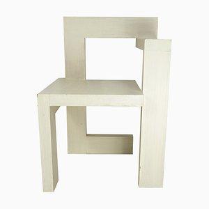 Modernist White Wooden Steltman Armchair from Gerrit Rietveld, 1992