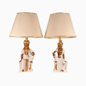 Grandes Lampes de Bureau Style Ming en Porcelaine Dorée et Bouddha Doré par Fabio Lenci, 1960s, Set de 2