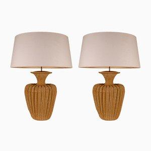 Große Terrakotta Tischlampen mit Belgischen Lampenschirmen, 1970er, 2er Set