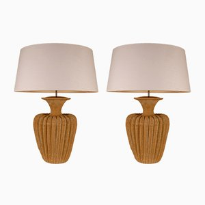 Large Terracotta Table Lamps with Belgian Linen Lampshades, 1970s, Set of 2